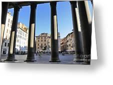 The Pantheon . Piazza Della Rotonda. Rome Greeting Card by Bernard Jaubert
