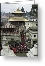 The Pashupatinath Temple Greeting Card by James P. Blair