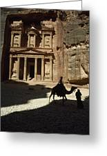 The Pharaohs Treasury Or Khazneh Greeting Card by James L. Stanfield