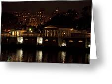 The Philadelphia Waterworks All Lit Up Greeting Card by Bill Cannon