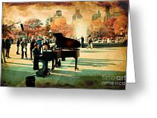 The Piano Man Greeting Card by Ken Marsh