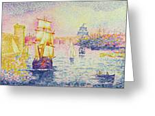 The Port Of Marseilles Greeting Card by Henri-Edmond Cross