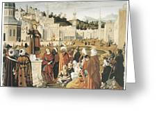 The Preaching Of Saint Stephen In Jerusalem Greeting Card by Vittore Carpaccio