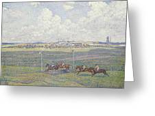 The Racecourse At Boulogne-sur-mer Greeting Card by Theo van Rysselberghe