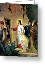 The Raising Of Lazarus Greeting Card by Carl Bloch