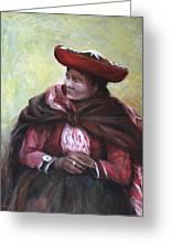 The Red Shawl  Greeting Card by Jun Jamosmos