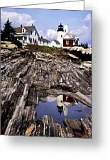 The Reflection At Pemaquid Greeting Card by Skip Willits