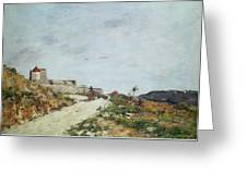 The Road To The Citadel At Villefranche Greeting Card by Eugene Louis Boudin