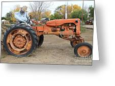 The Scarecrow Riding On The Old Farm Tractor . 7d10301 Greeting Card by Wingsdomain Art and Photography