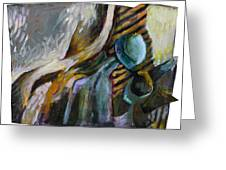 The Scarf The Glass And Caraffe Greeting Card by Piotr Antonow