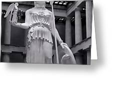 The Statue of Athena BW Greeting Card by Linda Phelps