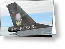 The Tail Of A Belgian F16 Aircraft Greeting Card by Luc De Jaeger