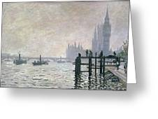 The Thames Below Westminster Greeting Card by Claude Monet