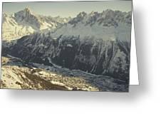 The Tourist Resort Of Chamonix Sits Greeting Card by Nicole Duplaix