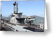 The Uss Pampanito Submarine At Fishermans Wharf With Alcatraz In The Distance.san Francisco.7d14420 Greeting Card by Wingsdomain Art and Photography