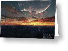 The View From An Alien Moon Towards Greeting Card by Brian Christensen