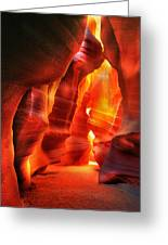 The Wall Of Fire Greeting Card by Daniel Chui