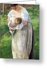 The Wet Nurse Greeting Card by Alfred Roll