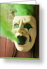 Theater Mask Spewing Green Smoke Greeting Card by Garry Gay