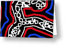 Thinking Red White and Blue Greeting Card by Alec Drake