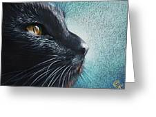 Thoughtful Cat Greeting Card by Elena Kolotusha