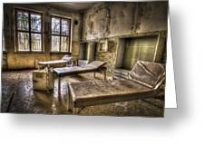 Three Beds Horror Greeting Card by Nathan Wright