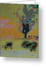 Three Cows And A Tree Greeting Card by Thomas Bertram POOLE