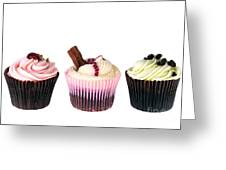 Three Cupcakes Greeting Card by Jane Rix