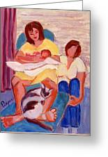 Three Generations Greeting Card by Elzbieta Zemaitis