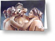 Three Graces Detail Greeting Card by Geraldine Arata