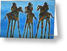 Three In The Blue Greeting Card by Lance Headlee