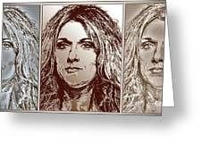 Three Interpretations Of Celine Dion Greeting Card by J McCombie