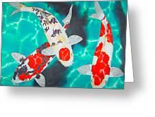 Three Koi Greeting Card by Daniel Jean-Baptiste