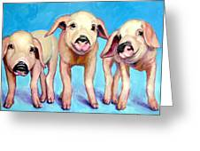 Three Little Piggies Greeting Card by Dottie Dracos