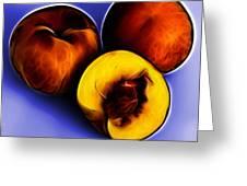Three Peaches - Blue Greeting Card by James Ahn