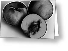 Three Peaches - Greyscale Greeting Card by James Ahn