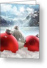 Three Red Christmas Balls In The Snow Greeting Card by Sandra Cunningham