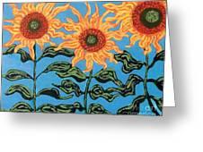 Three Sunflowers III Greeting Card by Genevieve Esson
