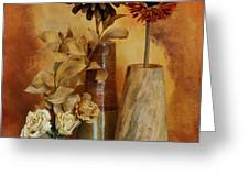 Three Vases of Dried Flowers Greeting Card by Marsha Heiken