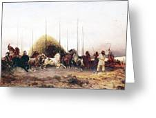 Threshing Wheat In New Mexico Greeting Card by Thomas Moran