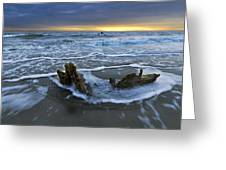 Tides At Driftwood Beach Greeting Card by Debra and Dave Vanderlaan