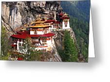 Tigers Nest Bhutan Greeting Card by Jim Kuhlmann