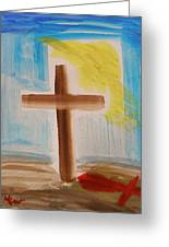 Tim Tebow's Cross-easter Monday Greeting Card by Mary Carol Williams