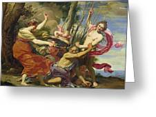 Time Overcome By Youth And Beauty Greeting Card by Simon Vouet