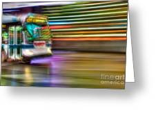 Times Square Bus Greeting Card by Clarence Holmes