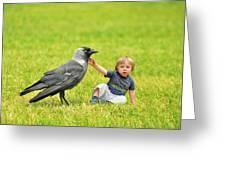 Tiny Boy Playing With A Crow Greeting Card by Jaroslaw Grudzinski