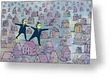 Tip Toe Through The Neighborhood Greeting Card by Dennis Wunsch