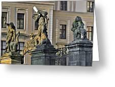 Titans Battling Outside Prague Castle Greeting Card by Christine Till