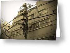 Tokyo Electric Pole Greeting Card by Naxart Studio