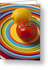 Tomato And Lemon  Greeting Card by Garry Gay